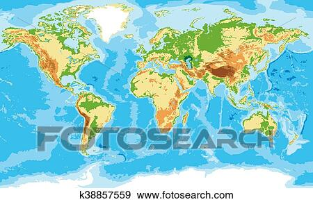 Clip Art Of Physical Map Of The World K38857559 Search Clipart