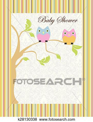 Vintage Baby Shower Invitation Card With Ornate Elegant