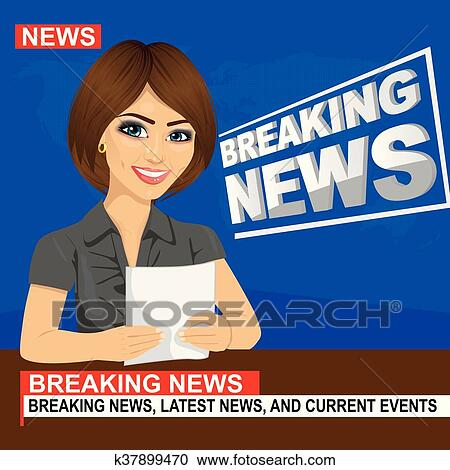 Clipart Of Young News Anchor Woman Reporting Breaking Sitting