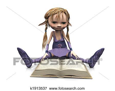 イラスト かわいい 漫画 女の子の読書 book k1913537 eps