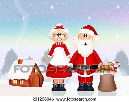 Regali Di Natale Per Moglie.Babbo Natale Consegnato Regali Con Suo Moglie Archivio Illustrazioni