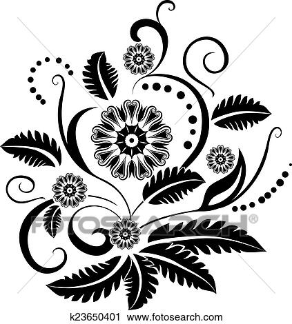 Clipart Of Black And White Floral Design Element K23650401 Search