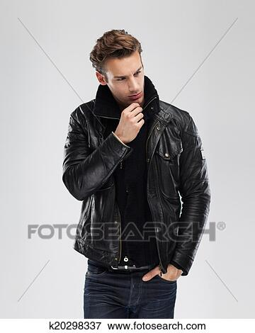 Picture Of Fashion Man Model Leather Jacket Gray Background