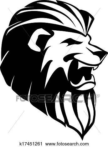 Clipart kopf von br llender l we tatoo k17451261 - Tete de lion dessin facile ...