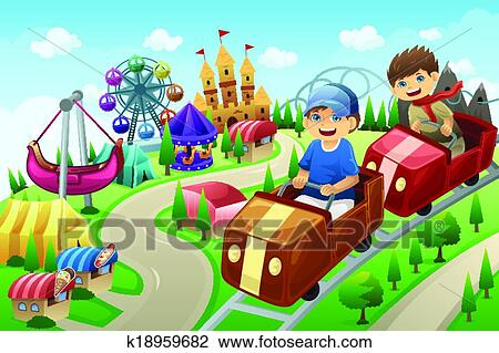 Kids Having Fun In An Amusement Park Clipart K18959682