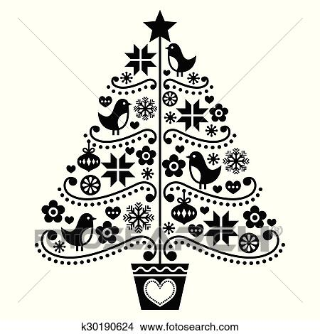 clipart weihnachtsbaum design leute stil k30190624 suche clip art illustration. Black Bedroom Furniture Sets. Home Design Ideas