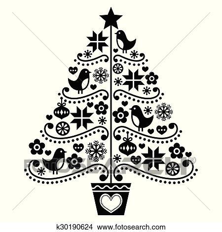 Clipart Weihnachtsbaum Design Leute Stil K30190624 Suche