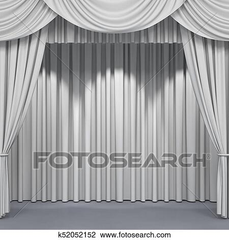 Clip Art Of White Stage Curtains K52052152