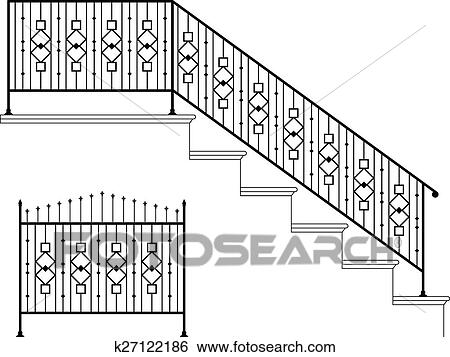 Clip Art Wrought Iron Stair Railing Design Fotosearch