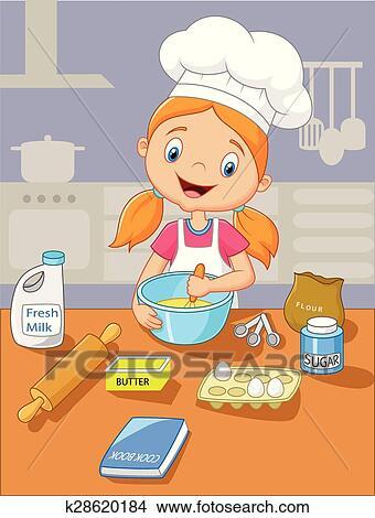 Cartoon Little Girl Baking Clipart K28620184 Fotosearch