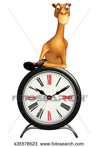 Cute Camel Cartoon Character With Clock Drawing K35578523 Fotosearch
