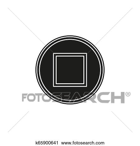 Vector stop button icon - media symbol - stop music or video Clipart