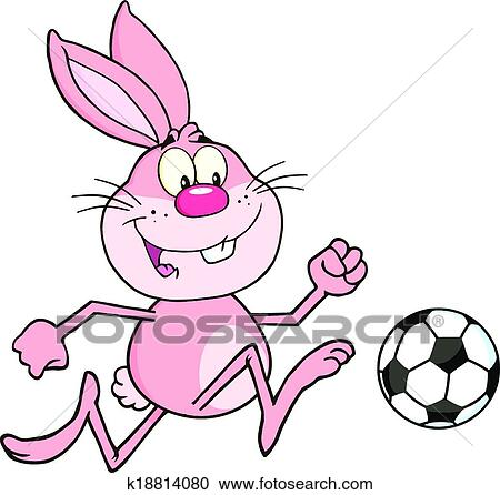 ピンク うさぎ で サッカーボール クリップアート切り張り
