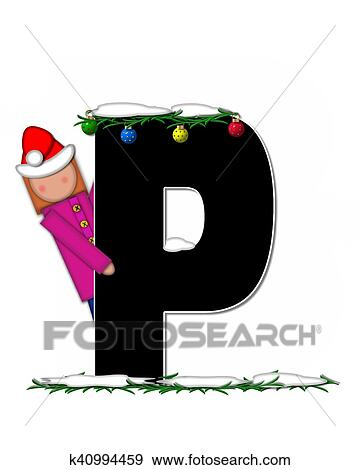 the letter p in the alphabet set children christmas ornaments is decorated snow and pine boughs child has santa claus hat nad decorates leter