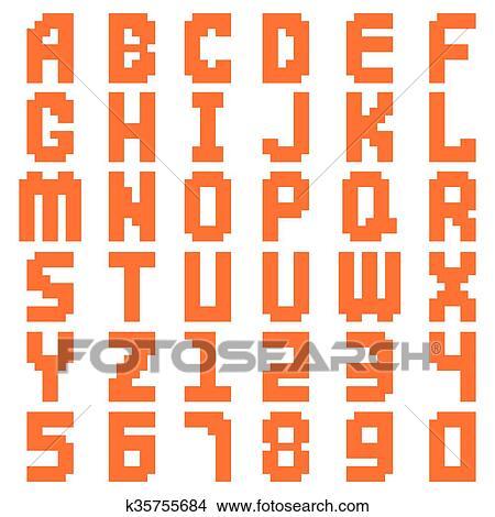Alphabet Résumé Pixel Art Tout Lettres Et Nombre Conception Illustration Clipart