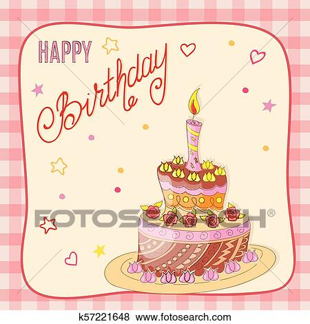 Birthday card with doodle cake, candle and roses into frame Clip Art