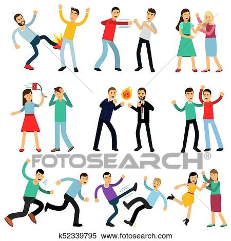 Clipart of Cartoon illustration set of angry people ...