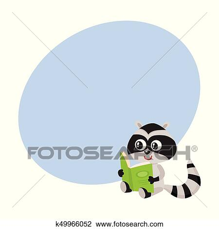 Clipart Of Cute Little Raccoon Student Character Reading An