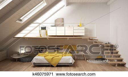 Grenier, mezzanine, scandinave, minimaliste, chambre à coucher ...