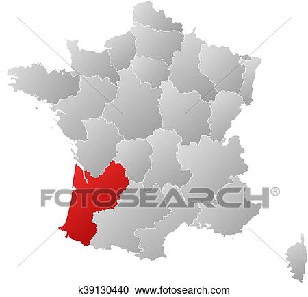 Clipart Of Map France Aquitaine K39130440 Search Clip Art