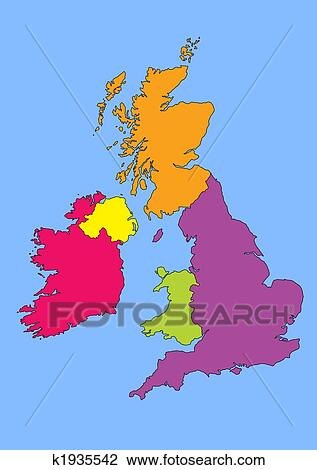 Britain And Ireland Map.Clip Art Of Map Of Great Britain And Ireland K1935542 Search