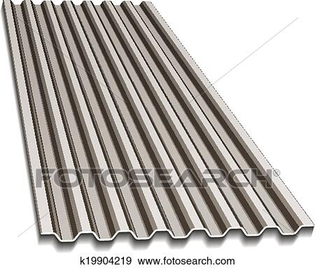 Clip Art Of Vector Corrugated Roofing Sheet K19904219