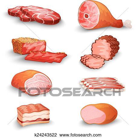 اللحم الطازج أجبر العظم Clipart K24243522 Fotosearch