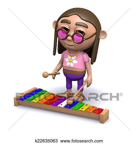 Dessin 3d Hippy Jeux Les Xylophone K22635063 Recherchez Des