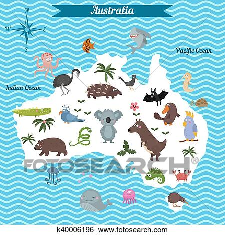 clip art of cartoon map of australia continent k40006196 search