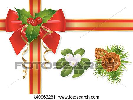 clipart christmas bow fotosearch search clip art illustration murals drawings and