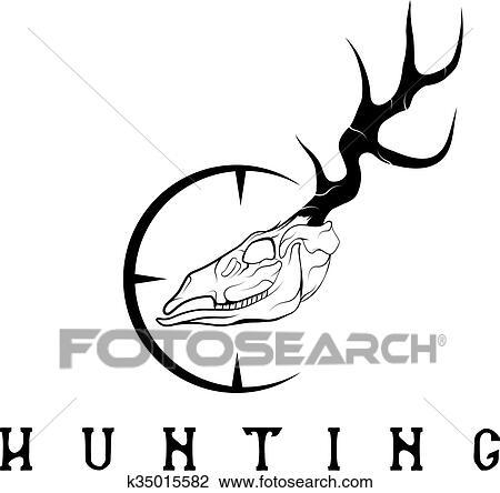Deer Skull With Target Vector Design Template Clipart