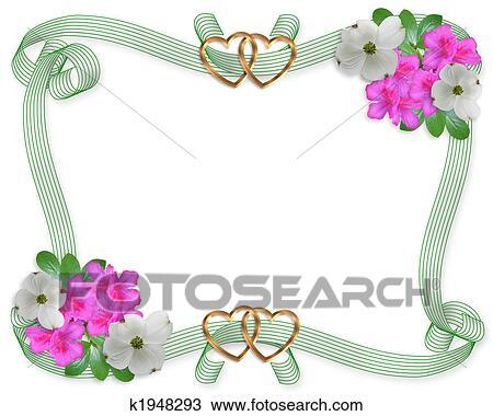 Zeichnung Hochzeitskarten Umrandungen Blumen Und Bander