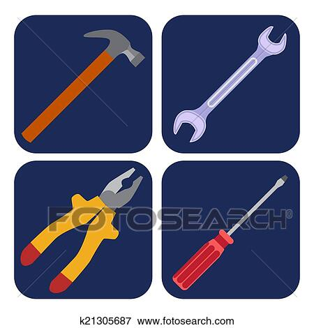 Clip Art Of Icons Set Of Craft Tools K21305687 Search Clipart