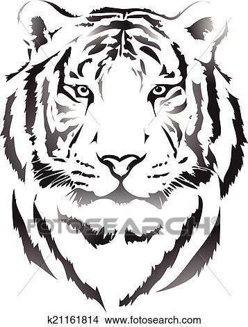Clipart t te tigre dans noir interpretation3 k21161814 recherchez des clip arts des - Tete de tigre dessin facile ...