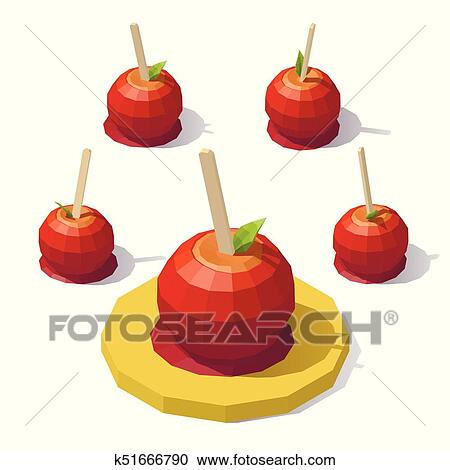 Low Poly Caramel Apple Clipart K51666790 Fotosearch