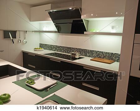 Moderno, moderno, diseño, cocina Foto