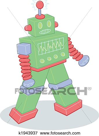 Retro 様式 おもちゃの ロボット イラスト イラスト K1943937
