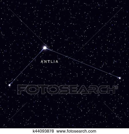 Star Map Art.Sky Map With The Name Of The Stars And Constellations Clip Art