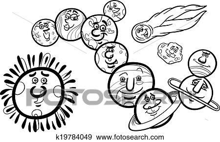 Solar system planets coloring page Clip Art   k19784049   Fotosearch