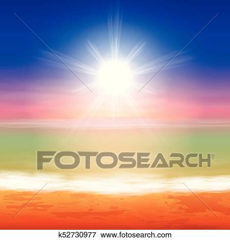 Tropical sea sunset beach background Clip Art