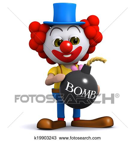 Clipart Bombe drawing of 3d clown bomb k19903243 - search clipart, illustration