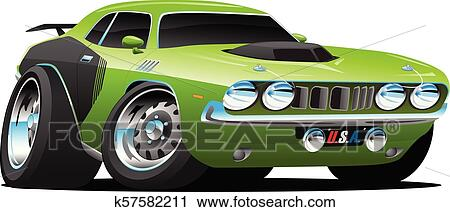 Clipart Of Classic Seventies Style American Muscle Car Cartoon