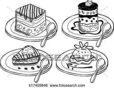 Clip Art of desserts doodle k17459946 - Search Clipart ...