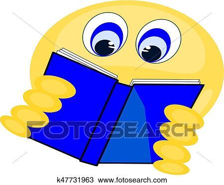 Emoji Livre Lecture Clipart