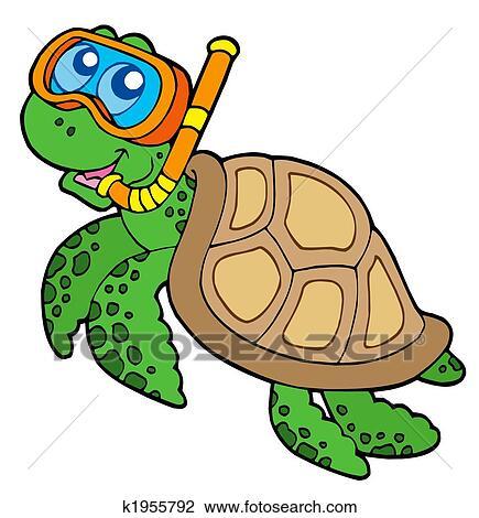 Clipart tortue mer snorkel plongeur k1955792 recherchez des cliparts des illustrations - Clipart tortue ...