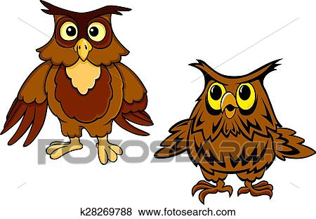 Clip Art Lindo Marron Buhos Caricatura Caracteres K28269788