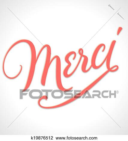Merci Hand Lettering Vector Clipart K19876512 Fotosearch