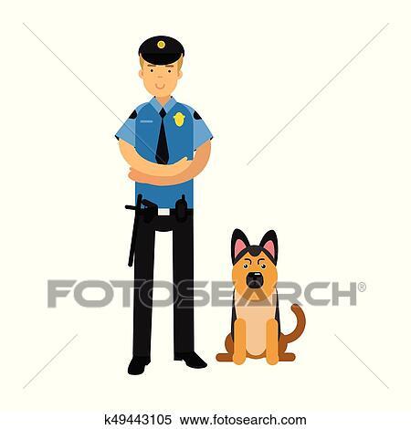 Poliziotto Carattere In Uno Blu Uniforme Standing Con Pastore