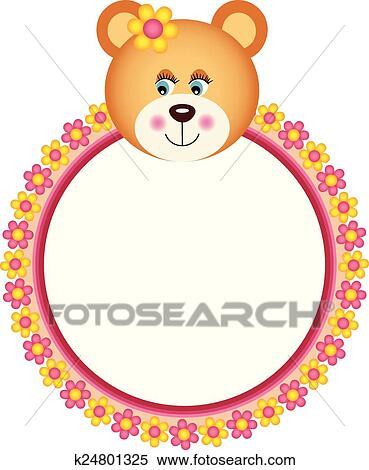 Clipart of Teddy Bear with Flower Frame k24801325 - Search Clip Art ...