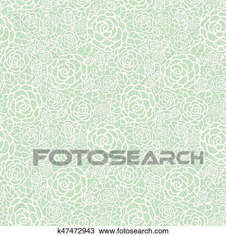 Vector Gentle Pastel Mint Green Lace Roses Seamless Repeat Pattern Background Great For Wedding Or Bridal Shower Decor Invitations Gifts Clipart K47472943 Fotosearch